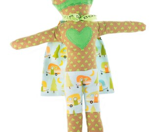 Rag doll-superhero-boy-Super Doudou for kid in printed cotton camping-Mister Green