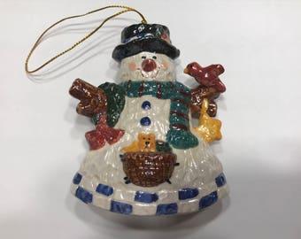 Vintage porcelain snowman ornament, 3 1/2 inch tall (HR101)