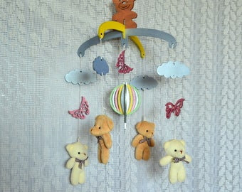 Baby crib mobile, Bears mobile, Wooden baby mobile, butterfly roses, cloud balloon, Nursery mobile, baby room decoration, neutral nursery