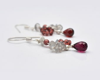 "Natural Garnet Labradorite Beads Chandelier Gemstone Earrings with 925 Sterling Silver Findings 1.50"" - Gift for her - Garnet Earrings"