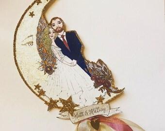 Custom Wedding Cake Topper - Portrait - Personalized - Custom Illustrated - Hand Painted