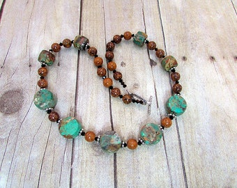 Mosaic Turquoise and Chinese Jasper Necklace