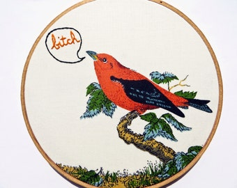 Hand Embroidered Vintage Fabric Bird Art - Bitch Bird - Red Scarlet Tanager Handmade Home Decor - Last Ones
