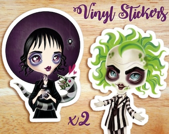 Beetlejuice & Lydia Deetz Die Cut Vinyl Stickers, Set of 2 Gothic Stickers