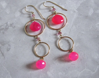 Hot Pink Earrings- Chalcedony, Topaz, Gold Filled
