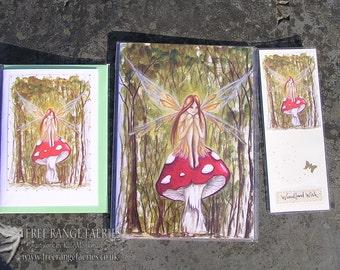 Woodland Wish Notebook, Handmde Bookmark and Card Set