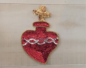 Sequin Frida Milagro Sacred Heart Patch Art