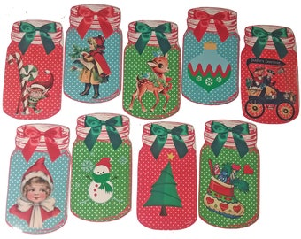 lot of 8 labels stickers Christmas stickers in the shape of mason jar jar