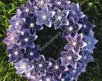 Origami Paper Flower Wreath / origami, paper flowers, paper wreath, origami wreath, kusudama, purple wreath, centerpiece, flower wreath
