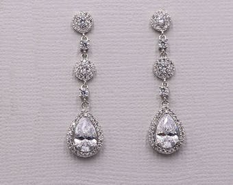 Wedding Earrings, bridal earrings, tear drop pear cubic zirconia earrings dangle earring, bridesmaid earrings, Adeline Earrings