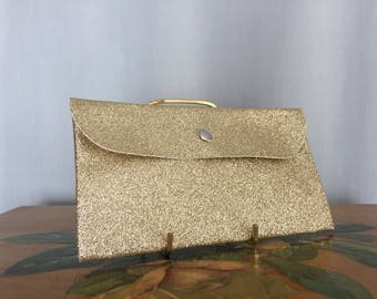 Gold Clutch Snap Pouch Glitter Vintage Purse