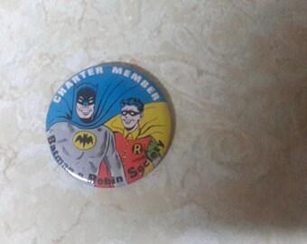 batman and Robin charter member large pin 1960s