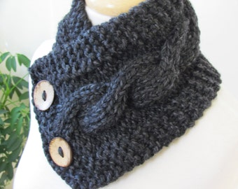 "Knit Neck Warmer, Cable Knit Scarf,  Chunky Warm Winter Scarf in Charcoal 6"" x 25"" - Coconut Shell Buttons Ready to Ship - Direct Checkout"