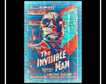 443 Vintage dictionary art the Indivisble man movie golden era