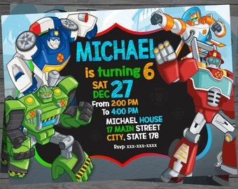 Rescue Bots Birthday, Rescue Bots Invitation, Rescue Bots Party, Rescue Bots Party Invitation, Resque Bots Invite INSTANT DOWNLOAD