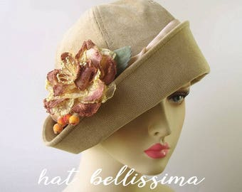 SALE  1920's  Hat Vintage Style hat winter Hats hatbellissima ladies hats millinery hats Hats with a Brooch