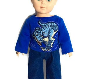Dinosaur Sweatshirt and Blue Jeans for 18 Inch Boy Doll, Royal Blue Doll Sweatshirt, Boy Doll Clothes, Winter Doll Clothes, Upcycled, OOAK