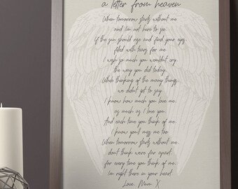 A letter from heaven in memory keepsake remembrance print memorial quotes funeral words mother mum