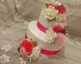 Silk Flower cake topper, wedding cake decorations, floral wedding cake topper
