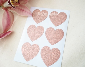Rose Gold Pink Glitter Heart Stickers Labels Envelope Seals - Pack of 24