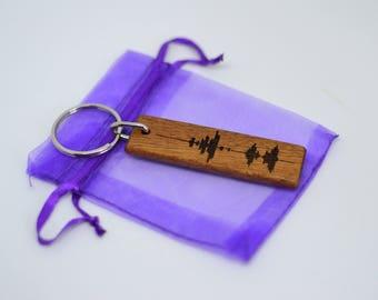 Baby's Heartbeat Keyring - Heartbeat Key Fob - Wooden Heart Beat Key Chain - Ultrasound Key Ring - Soundwave Keyring