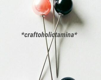 Set Of 3 Faux Pearl Hat Pins - Pink, Grey, Black Hat Pins - craftoholictamina