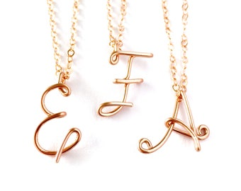 14k Solid Rose Gold Initial Pendant. Custom Personalized Solid Rose Gold Initial Necklace. Calligraphy Necklace