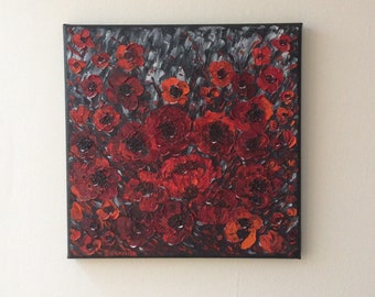 Stunning Contemporary Wild red poppies Palette knife oil painting on canvas