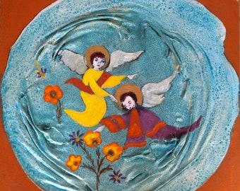 Angels, Painting, Mixed Media, Sacred, Esoteric, Naive
