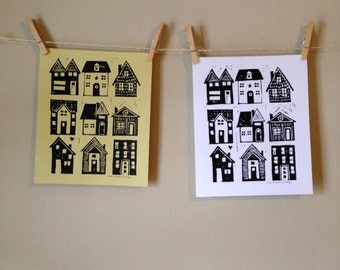 HOME - linocut print on white or yellow paper