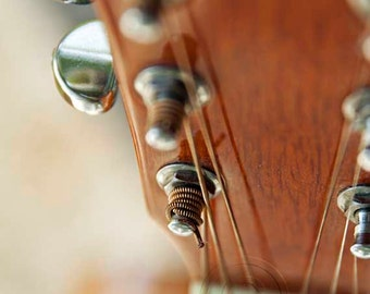 Guitar Photography Music Print, Guitar Strings Tuning Musical Instrument, Musicians Gift, Acoustic Rock N Roll Band Photo, Music Lover Decor