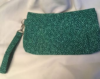 Charmed Spotted Green Wristlet Clutch