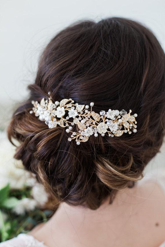 Wedding hair accessories bridal headpiece gold flower junglespirit Choice Image