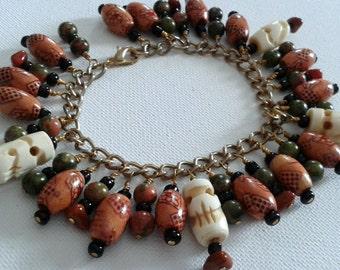Beaded charm bracelet, skull charm bracelet, skull bracelet, unakite bracelet, brown and green bracelet, wooden bead bracelet