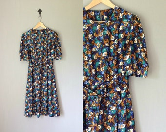 Vintage HANDMADE Dress • 1970s Clothing • Midi Calf Length Short Sleeve Shirtdress 70s Belted Navy Blue Floral Print • Women Extra Large