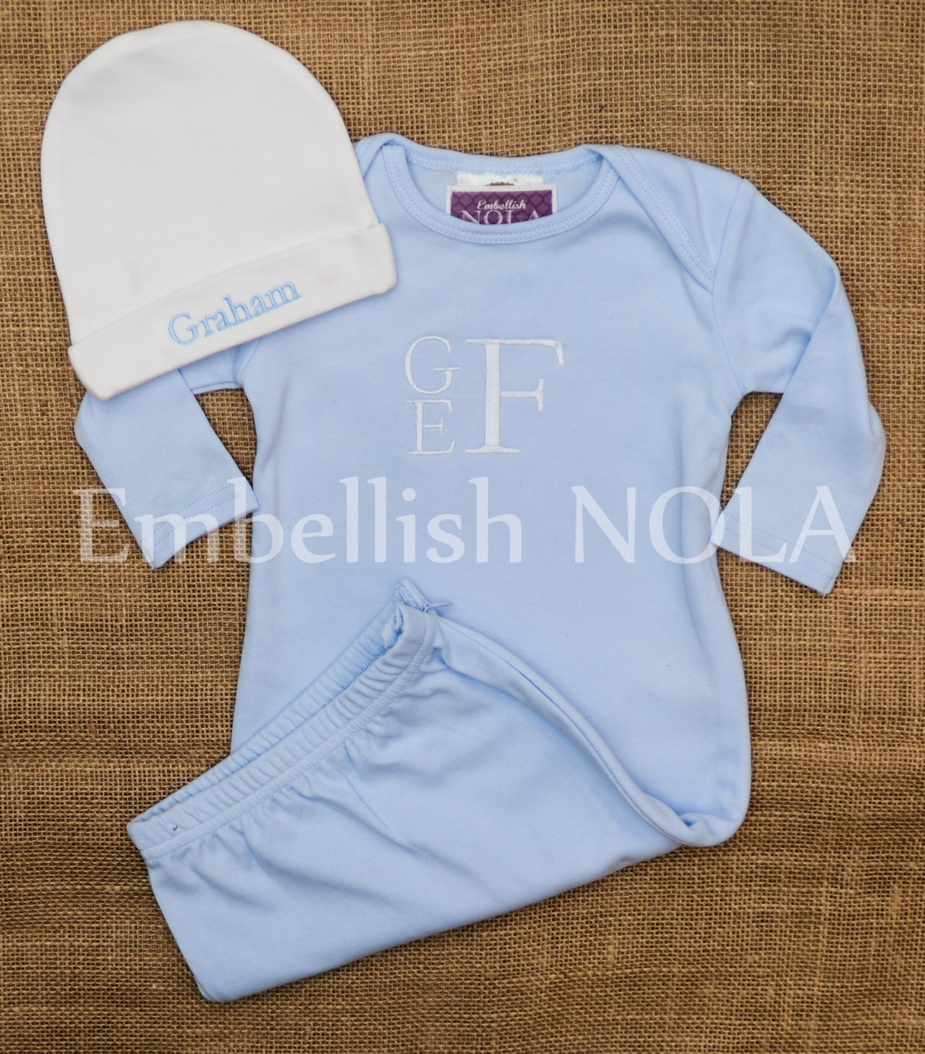 Light Blue Monogrammed Baby Gown Baby and White Monogrammed