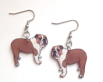 Handcrafted Plastic Bulldog Earrings