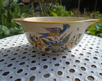 Bowl in earthenware - flowers and birds-