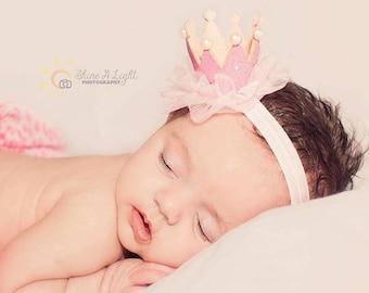 Hot Pink or Light Pink Baby Girl Princess Crown Headband, 1st Birthday, Photo Prop