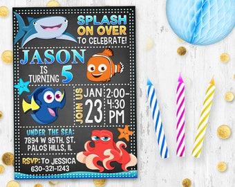 Finding Nemo Dory Birthday invitation Birthday card Under the sea birthday party card