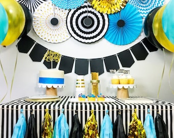 birthday boy party decorations baby boy shower party decorations black gold blue party package party kit