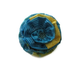 Flower Fabric  Brooch in Turquoise, Yellow