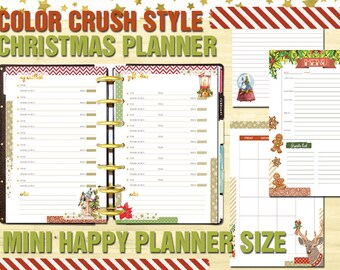 Mini happy planner christmas printable planner Extention Pack Holiday Organizer Mini Happy Planner Holiday Insert gift tracker wishlist