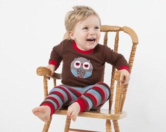 Hand Crochet Appliqué Owl Pyjamas For Boys (Size 1-6)