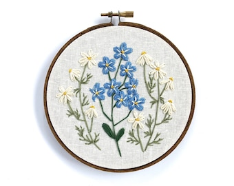 "Chamomile and Forget me Nots,  Wildflowers, embroidery hoop, hand embroidered, botanical wall art, home decor, 5"" hoop, white linen"