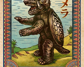 "Gamera Matchbox Art- 5"" x 7"" matted signed print"