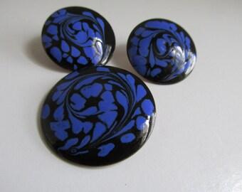 Purple Jewelry Mod Psychedelic Enamelware Earrings Enamel Brooch Purple earrings Copper  Psychedelic Jewelry  Purple and Black Jewelry Set