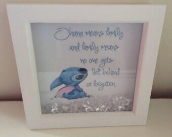 "Disney Stitch ""Ohana means family"" Box Frame. Disney, Stitch, Ohana, Lilo & stitch."