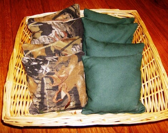 8 PC set of Corn hole Bags 4  Buckhead Embroidered Moss Camo and 4 Dark Green Duck Cloth bags.