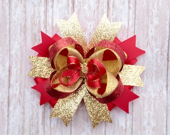 Gold and red christmas hair bow- Red and gold hair bow- christmas gold red sparkling glitter hair bow-large boutique OTT gold red hair bow